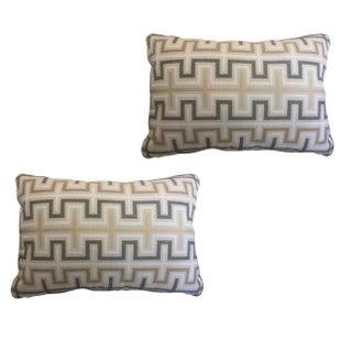 Neutral Geometric Pillows - a Pair For Sale