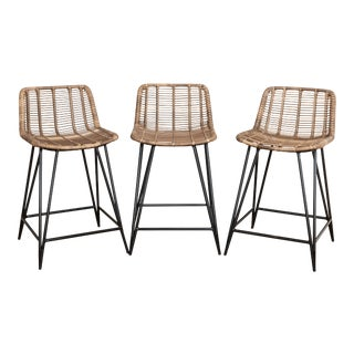 Asher and Rye Woven Natural Fiber Outdoor Barstools - Set of 3