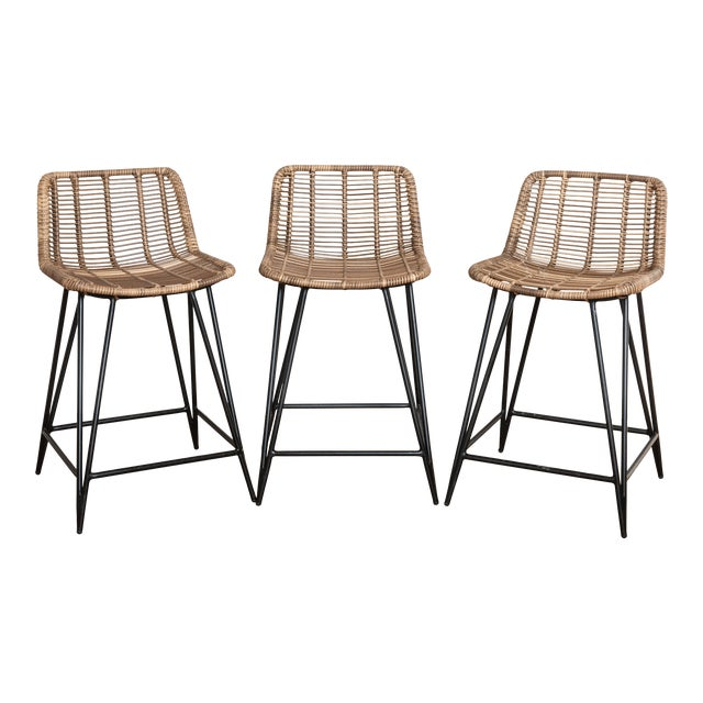 Asher and Rye Woven Natural Fiber Outdoor Barstools - Set of 3 For Sale