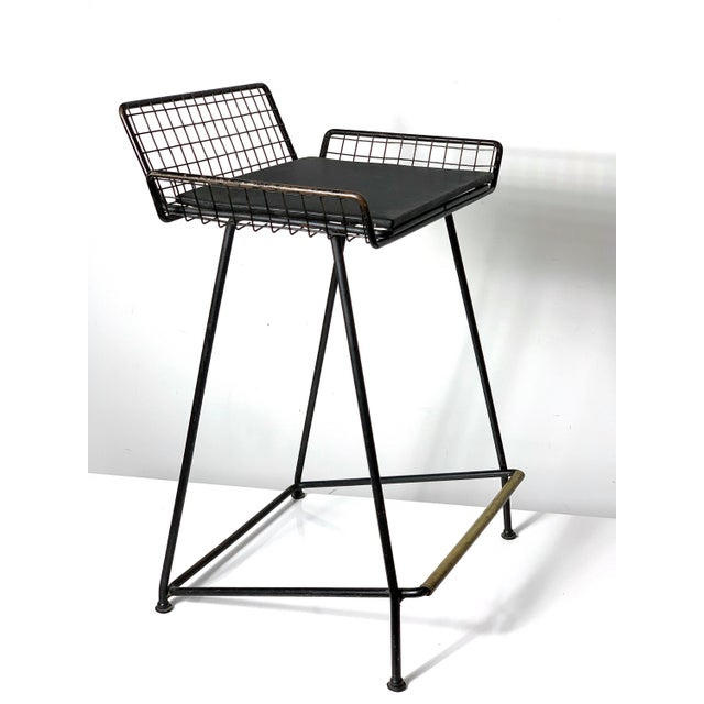 1960s Vintage Tony Paul Iron Wire Counter Bar Stool For Sale - Image 11 of 11