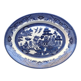 1940s Vintage Churchill England Blue & White Willow Chinoiserie Platter For Sale