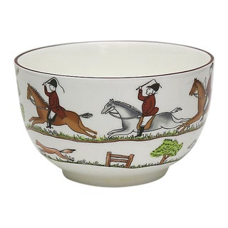 English Hunting Scene Sugar / Serving Bowl For Sale