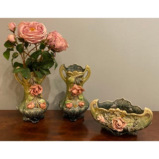 Majolica Planter Vases and a Cachet Pot - Set of 3 Preview
