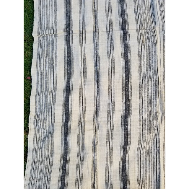 Hand Spun Black Stripe Linen Throw For Sale - Image 5 of 7