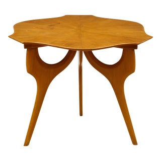 1950s Mid-Century Modern Unusual Fruit Wood End Table For Sale