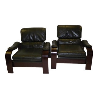 Alvar Aalto Style Dark Green Leather & Bentwood Lounge Chairs - A Pair