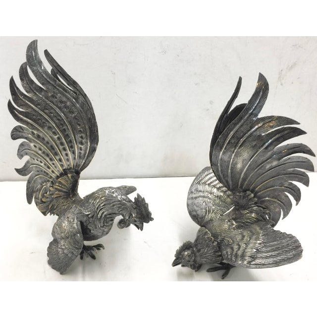 Decorative Silver Roosters - a Pair For Sale - Image 9 of 9