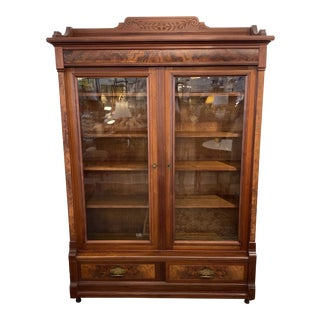 Early 20th Century Double Glass Doors Wood Display Cabinet For Sale