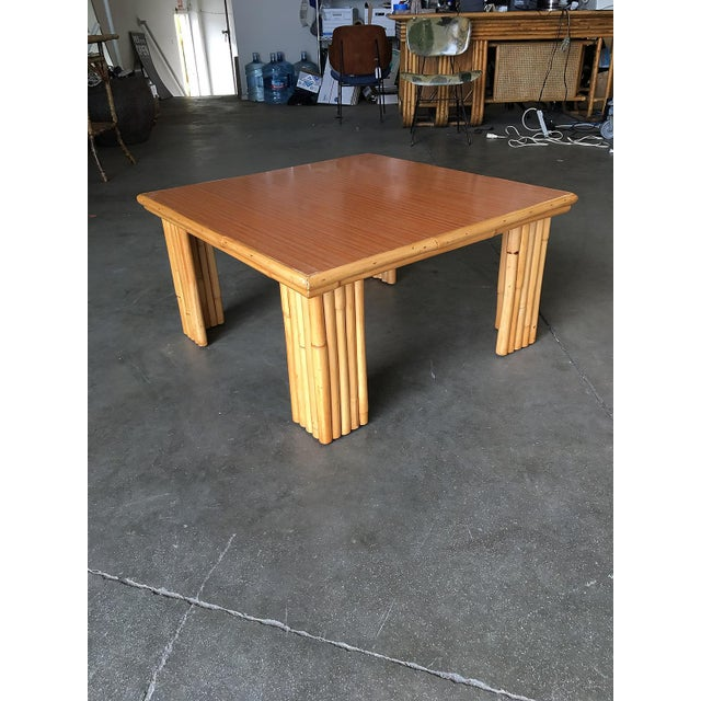 Extra Wide Rattan Coffee Table With Formica Top For Sale In Los Angeles - Image 6 of 8