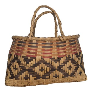 Authentic Mississippi Choctaw River Cane Basket For Sale