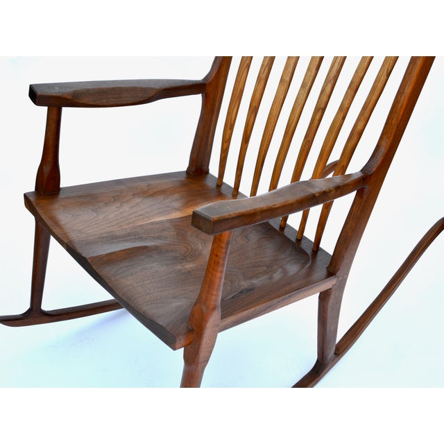1980s Hand-Crafted Wooden Rocking Chair For Sale - Image 5 of 9