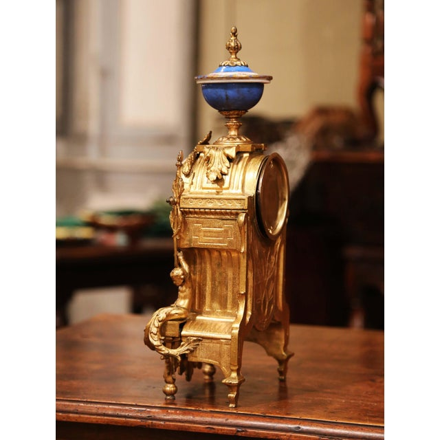 Metal 19th Century French Louis XVI Gilt Metal and Porcelain Mantel Clock For Sale - Image 7 of 11