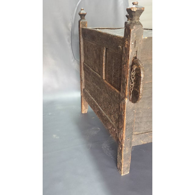 Primitive Afghanistan Dowry Dark Ebony Caved Wedding Chest For Sale - Image 3 of 10
