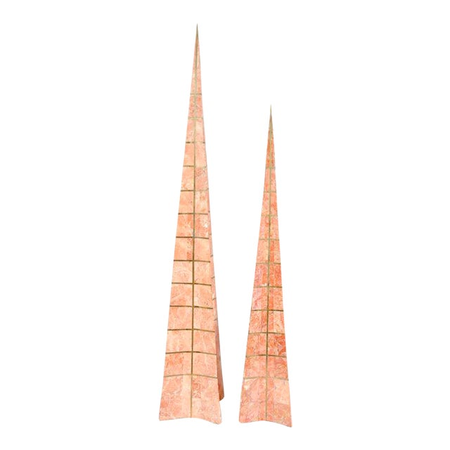 Pair of Bronze Inlay and Stone Obelisks by Casa Bique For Sale