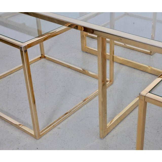 Maison Charles et Fils Huge Coffee Table in Brass with Four Nesting Tables by Maison Charles For Sale - Image 4 of 6