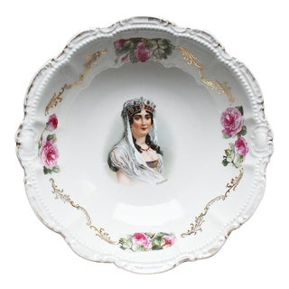 French Empress Joséphine Bonaparte Porcelain Floral Serving Dish, Pm & M Bavaria For Sale
