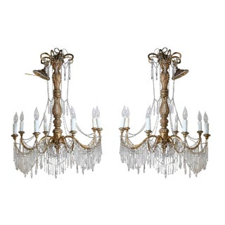 19th Century Italian Gold Tole Chandeliers - a Pair For Sale