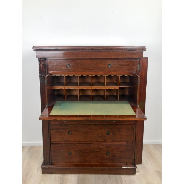 Wellington Secretary Chest of Drawers, England Circa 1840 For Sale In San Francisco - Image 6 of 11