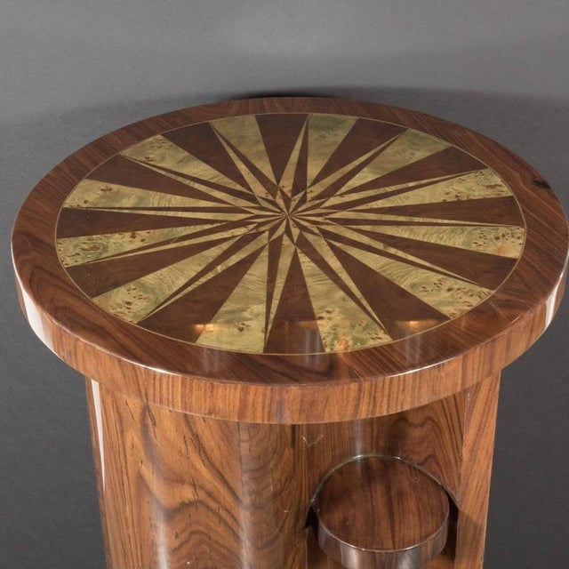 Brown Art Deco Inlaid Starburst Occasional Table in Walnut with Olive Wood Detailing For Sale - Image 8 of 10