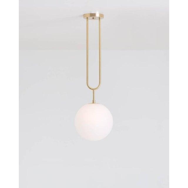 Not Yet Made - Made To Order Koko Satin Globe Shade & Matte Black Finish Modern Pendant Light For Sale - Image 5 of 10
