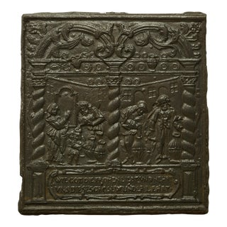 Unique 16th Century Antique Fireback, Biblical Wine Feast For Sale