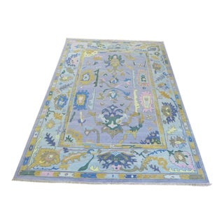 Hand Knotted Lavender Turkish Knotted Oushak Oriental Rug- 10′ × 14′2″ For Sale