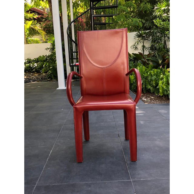 Arper 1970s Mid-Century Modern Italian Leather Dining Chairs- Set of 10 For Sale - Image 4 of 9