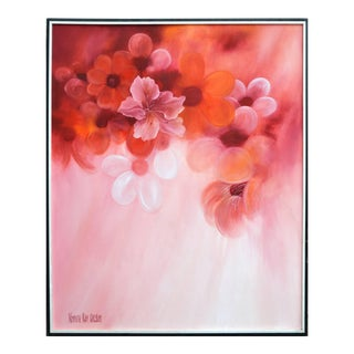 1980s Pink Hibiscus Oil Painting For Sale