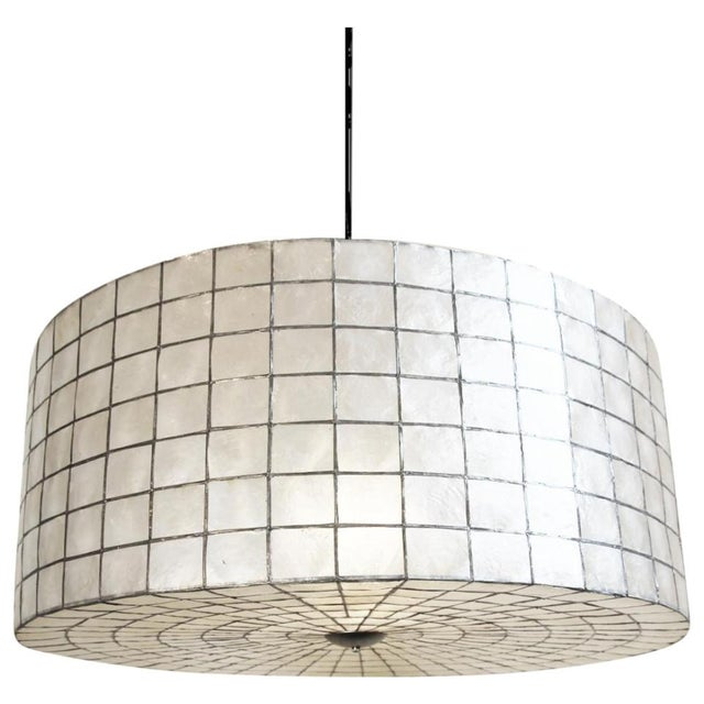 "Capiz Drum Lantern 35"" For Sale - Image 4 of 4"