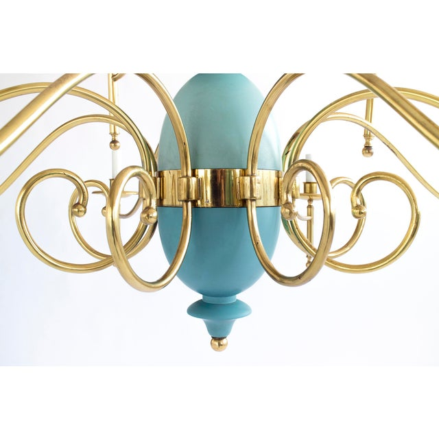 Mid-Century Modern Large Brass Multi-Arm Chandelier For Sale - Image 3 of 3