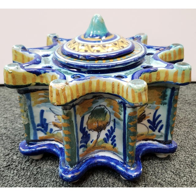 Circa 1900 Spanish Talavera Faience Pottery Inkwell For Sale - Image 11 of 11