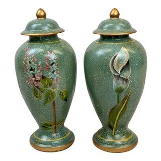 Vintage Ceramic Green Floral Lidded Urns - Pair For Sale