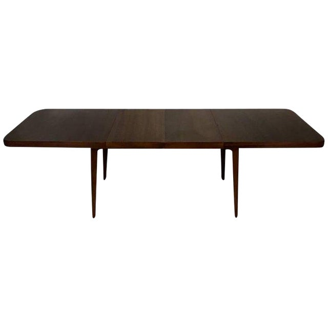 Stunning Midcentury Edward Wormley for Drexel Walnut Extension Dining Table For Sale