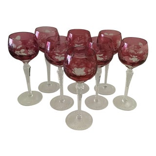 Rose Cut and Clear Etched Crystal Stemmed Goblets With Grape Motif—set of 8 For Sale