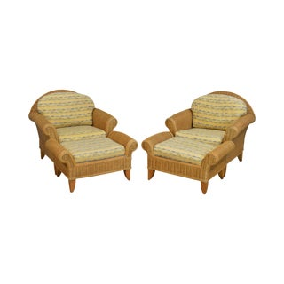 Henry Link Wicker Pair of Lounge Chairs With Ottomans For Sale