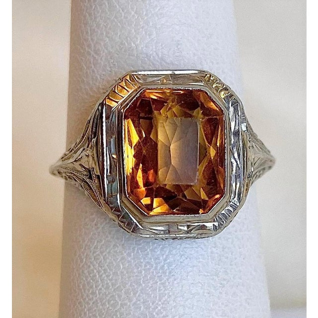 Antique 18k White Gold and Citrine Ring For Sale - Image 9 of 10