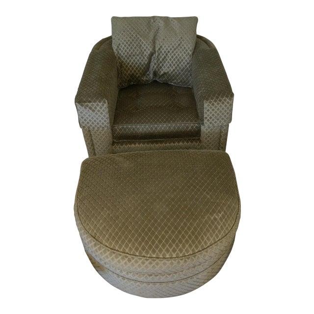 Henredon Aubergine Park Central Chair & Ottoman - Image 1 of 8