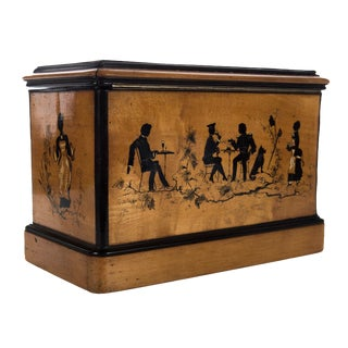 19th C. Antique English Wooden Box For Sale