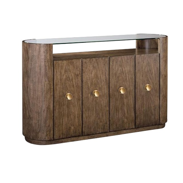 Transitional Drexel Heritage Ray Bar Wood Credenza For Sale