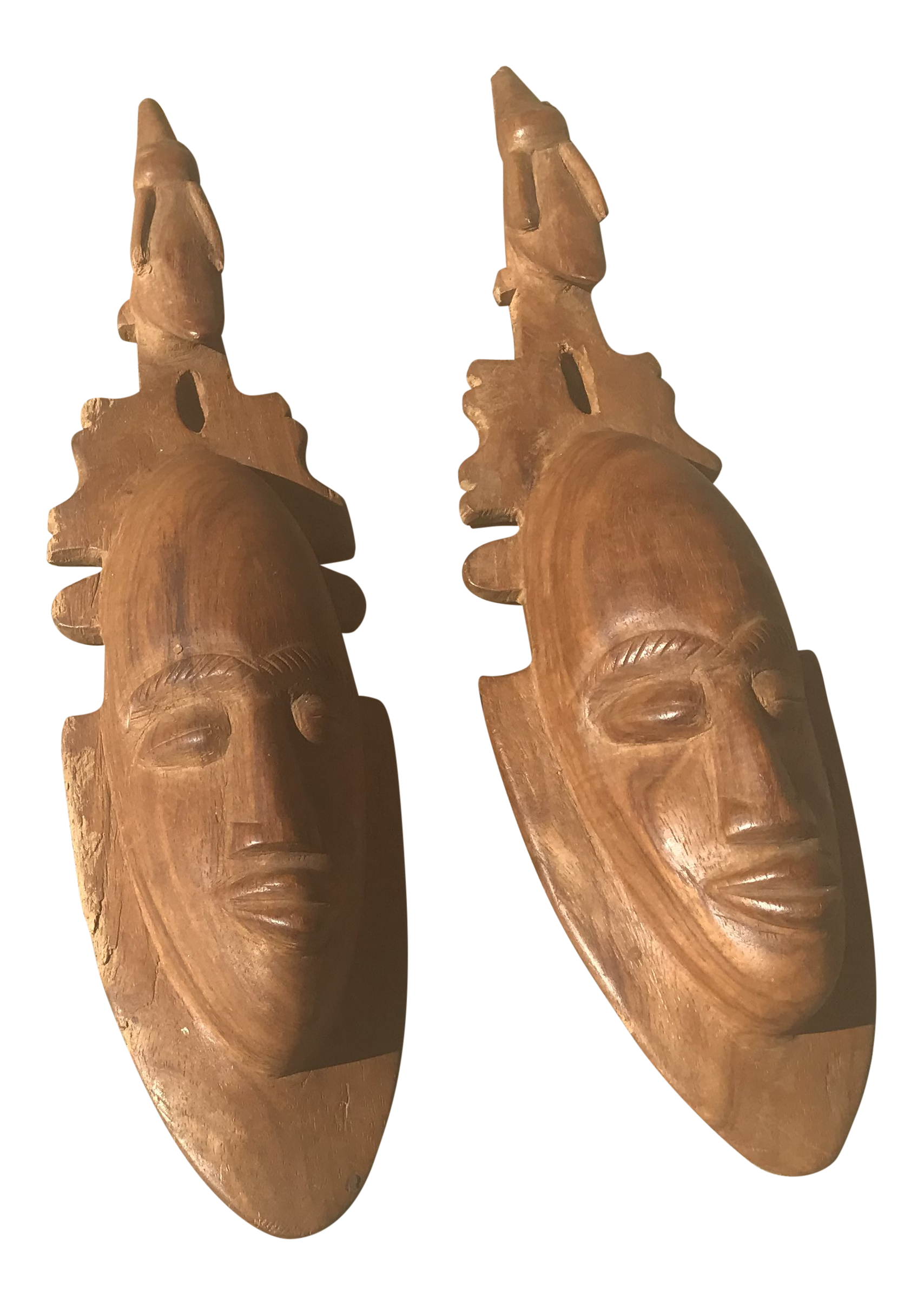 African handmade wooden carvings a pair chairish