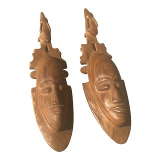 African Handmade Wooden Carvings - a Pair For Sale