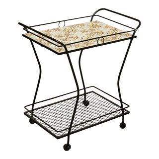 Mid-Century Modern Wrought Iron Tile Top Serving Cart, Trolly For Sale