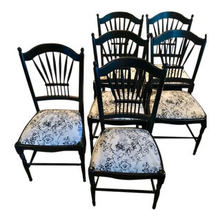 Six French Anduze Dining Chairs With Upholstered Seats