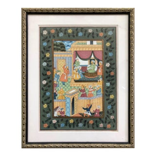 Indian Framed Watercolor Painting For Sale