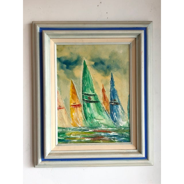 Mid-Century Modern Coastal Vintage Sail Boats Painting For Sale - Image 3 of 11