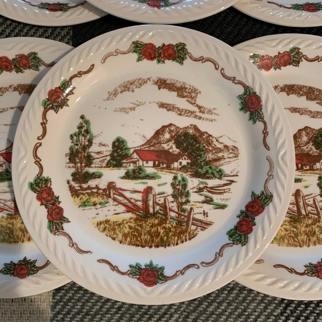 Vintage Figgjo Flint Norwegian Small Plates - Set of 6 For Sale In Chicago - Image 6 of 11