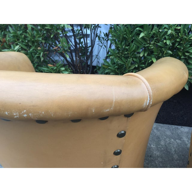 Vintage Spanish Barrel Back Leather Chairs- a Pair For Sale - Image 11 of 13