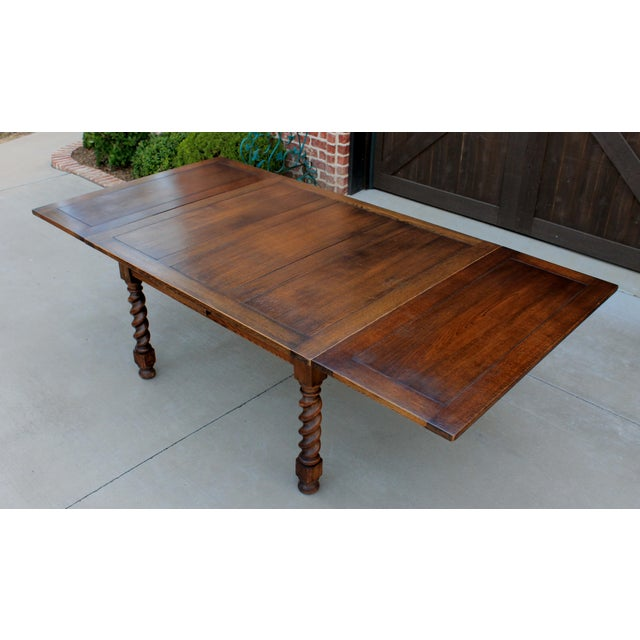 Antique French Oak Barley Twist Draw Leaf Dining Table Writing Desk Conference Table 1930s Chairish