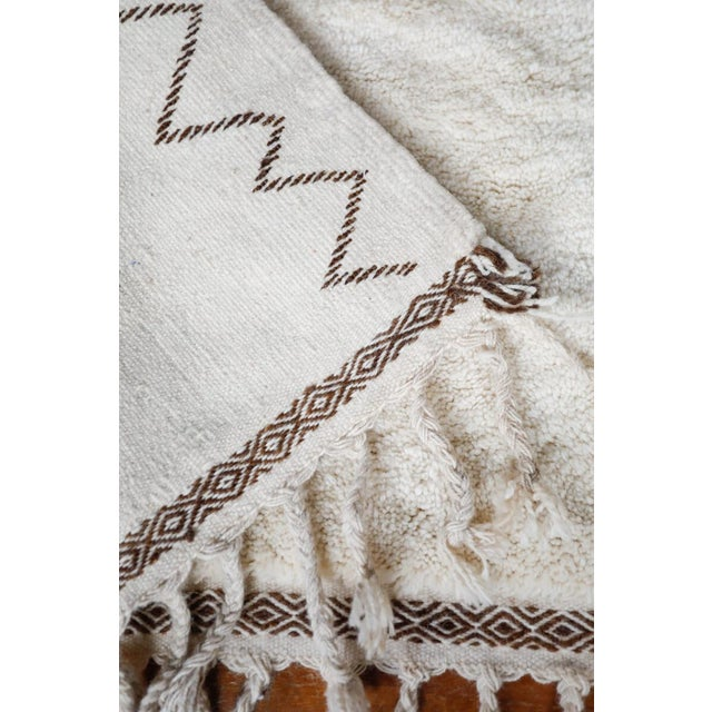 """Symbol"" White Moroccan Berber Rug With Brown Tribal Symbols - 8'7"" X 5'2"" For Sale In New York - Image 6 of 13"