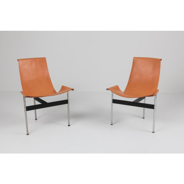 Chrome Katavolos, Kelley and Littell T-Chairs in Original Cognac Leather - 1970s For Sale - Image 8 of 10